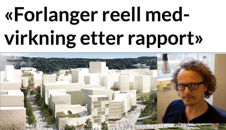 Medvirkning på Skøyen må skje på ordentlig etter Kommunerevisjonens rapport