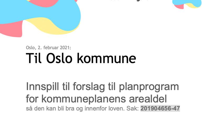 Høringsnotat forslag til planprogram kommuneplanens arealdel Oslo 201904656