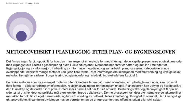 Metodeoversikt i planlegging etter plan- og bygningsloven